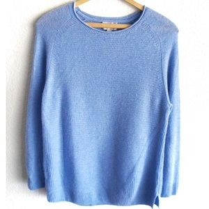 Pure 100% Cashmere Blue Long Sleeves Knit Sweater